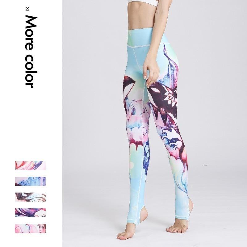 Women Sport Wear High Waist Power Flex Stirrup Foot Yoga Capris Tights Fast Drying Gym Fitness Running Pants Dancing Leggings