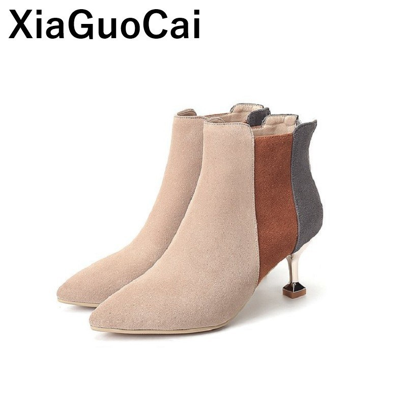 2019 Spring Autumn Women Ankle Boots Thin High Heels Woman Shoes Pumps Pointed Toe Slip Sexy Female Martin Boots Flock Zipper2019 Spring Autumn Women Ankle Boots Thin High Heels Woman Shoes Pumps Pointed Toe Slip Sexy Female Martin Boots Flock Zipper