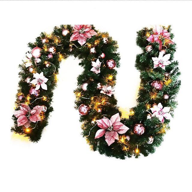 nieuwe jaar kerst 27 m roze met led verlichting gloeiende kerstkrans rotan guirlande dropshipping