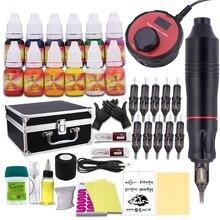 Professional Tattoo Pen Kit Rotary Machine gun Set LCD Mini Power Tattoo Pedal Switch Supply with Aluminum box недорого