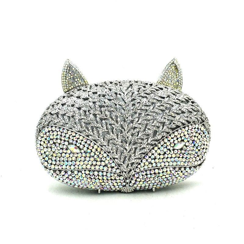 Bagaj ve Çantalar'ten Üstten Saplı Çanta'de Hayvan kuş tasarım debriyaj kadınlar akşam parti çantası elmas tilki şekli kristal çantalar gelin düğün parti kristal manşonlar'da  Grup 2