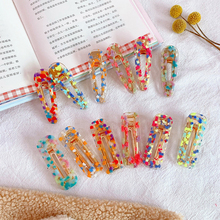 Fashion New Fragment Women Hollow Girls Waterdrop Acrylic Hairpins Colorful Rectangle Hair Clips Transparent Geometric Barrettes stylish rectangle acrylic hollow out bracelet for women