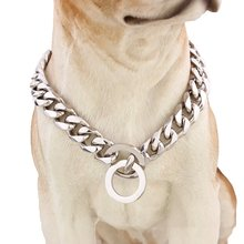 Strong Silver Titanium Steel Slip Dog Collar Metal Dogs Training Pet Chain Choke Collar For Large Dogs Pitbull Bulldog 13mm