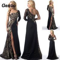 c67d8af6b4 2019 Vintage Sexy One Shoulder Mermaid Dress Lace Long Sleeve Formal  Evening Party Dress Slit Floor