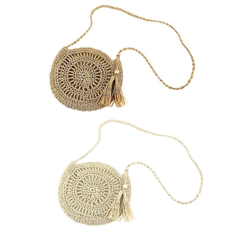 Round Woven Hollowed Shoulder Messenger Handbags Women Exquisite Design Tassel Summer Beach Knitted Crossbody Bags 2019 New
