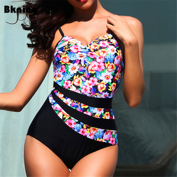 Pink Floral Print Swimsuit Large Size Swimwear Plus Flower Badpak Female 2019 Padded 1 One Piece Swim Suit Patchwork 3XL 4XL 5XL