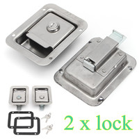 2x Stainless Steel Paddle Door Lock Latch Handle Truck Tool Box Trailer With Key Replaces Toolbox Latch Sliver Flush Mount