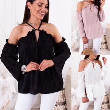 Blouses & Shirts Gwirpte Off Shoulder Lace Up Summer Shirts Lantern Sleeve Women Hollow Out Blouse Sexy Holiday Blusas Ladies Camisa Blusa High Quality And Inexpensive