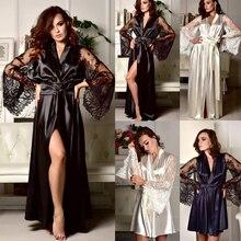 Sexy Women Solid Lace Silk Bath Long Maxi Sleepwear Dress Ladies V Neck Lace Sleep Dress