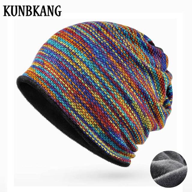 2018 Winter Hats For Women Beanies Scarf Rainbow Hat Men Beanie Hip Hop  Warm Velvet Bonnet Femme Women Winter Beanies For Ladies 08f43ef30c9
