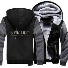 US size Men Women Hoodies for Game SEKIRO Shadows Die Twice Coat Zipper Hoodie Thicken Cosplay Jacket Sweatshirts