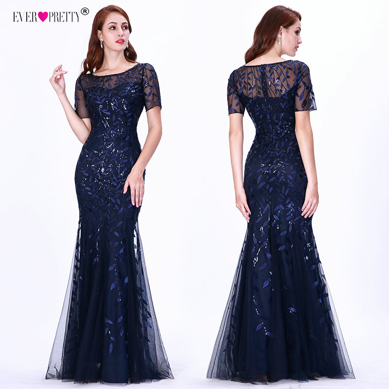 Saudi Arabia Evening Dresses Long Ever Pretty New Mermaid Short Sleeve Lace Appliques Tulle Wedding Party Gowns Robe De Soiree