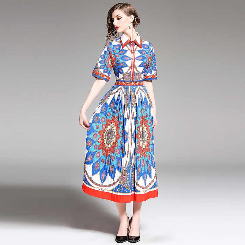 Designer Runway Shirt Dress Women Elegant Lapel Buttons 2019 Summer Floral Dress Ladies Casual Holiday Pleated Long Dress