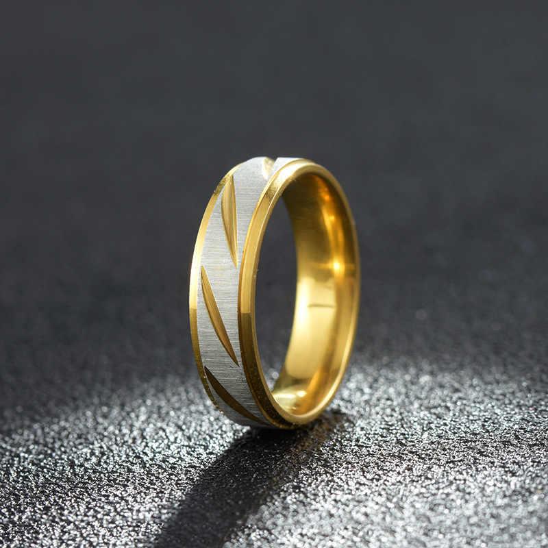 أزياء التيتانيوم الصلب الفضة خواتم للرجال عصابة سوداء للنساء الذهب حك خواتم الزفاف للرجال الأزرق البنصر المرأة مجوهرات