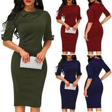 Elegant Womens BOHO Office Turn down Collar Formal Dress Ladies Business Work Pa