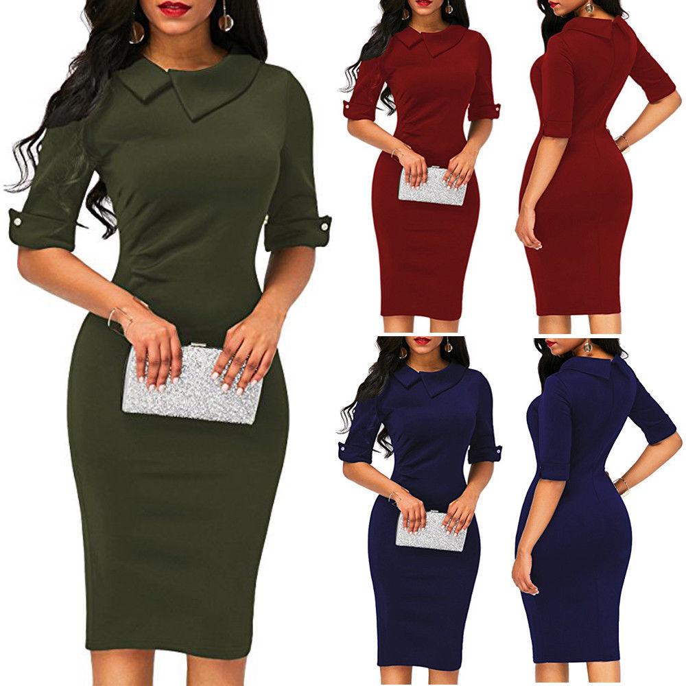 Elegant Womens BOHO Office Turn down Collar Formal Dress Ladies Business Work Party Sheath Tunic Pencil Dress