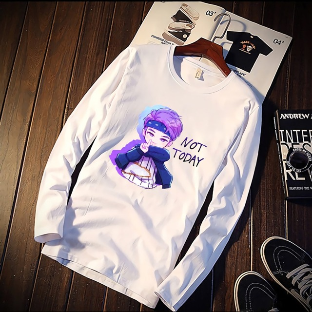a550848b00c08 2019 Pure Cotton TShirt BTS Kawaii Suga Cartoon Anime Style Printed Long  Sleeve Fashion Casual Tops   Tees Brand Unisex Clothing