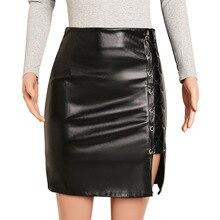 цены на NiceMix Fashion Women Lace Up Zipper High Waist Black PU Leather Club Party Bodycon Mini Skirts Split Hem Pencil Skirt Plus  в интернет-магазинах