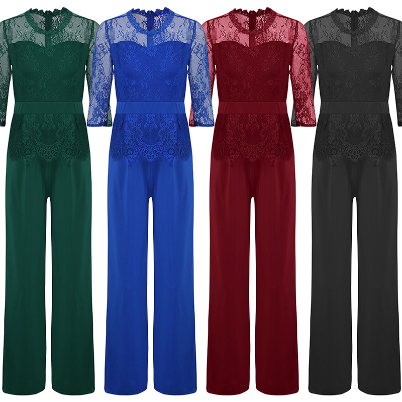 2e676baca23 Lace Jumpsuit Women Rompers Autumn 2018 Elegant Ladies Office Work Wear  overalls for Women Wide Leg