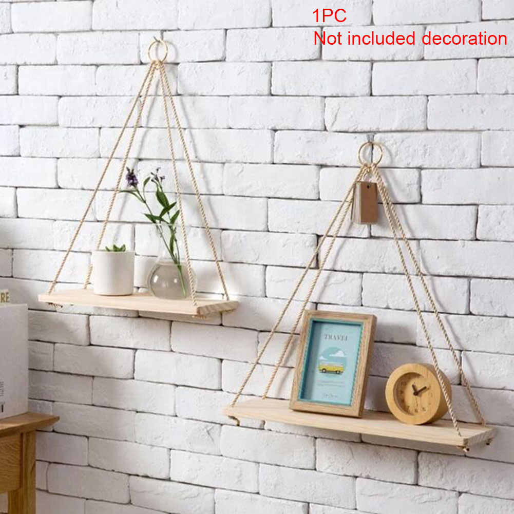 Nordic Style Wooden Ornaments Storage Rack Wall Rope Hanging Shelf for Decor of Bedroom Living Room Kitchen Office New