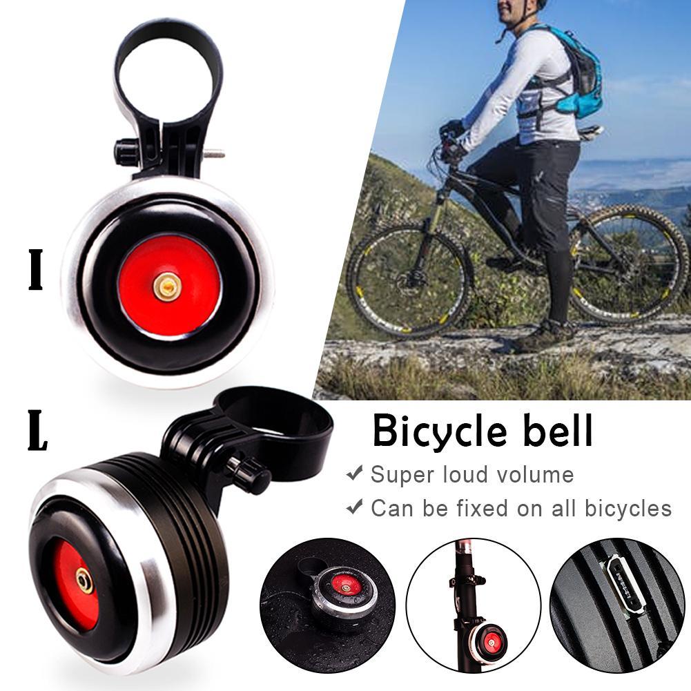 Usb de carregamento da bicicleta sino chifre elétrico com som alarme chifre para ciclismo bicicleta acessórios liga alumínio ordinária sinos|Sino da bicicleta| |  - title=