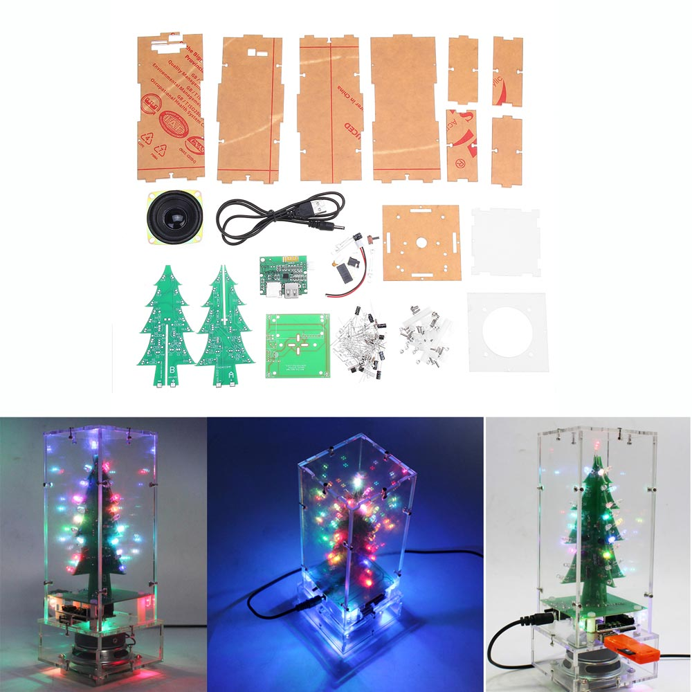 DIY Colorful Christmas Tree bluetooth MP3 Electronic Production Kit Music Remote Control Audio ModuleDIY Colorful Christmas Tree bluetooth MP3 Electronic Production Kit Music Remote Control Audio Module