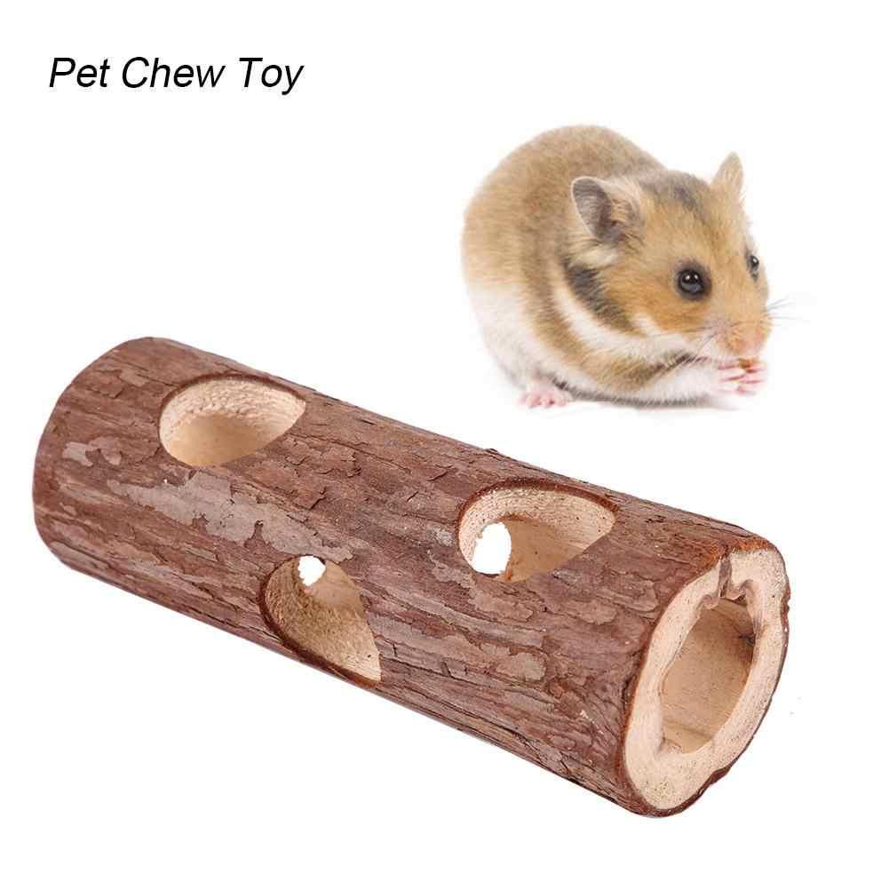 Túnel animal de madeira tubo exercício mastigar brinquedo para coelho furão hamster cobaia porco hamster brinquedo túnel pequeno animal estimação