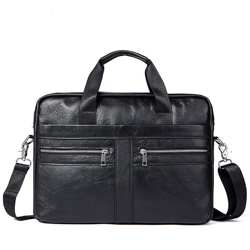 Men Leather Laptop Briefcase Bag 14.1 Inch Genuine Leather Men Bags Briefcases Handbag Shoulder Bag Crossbody Messenger Bags New