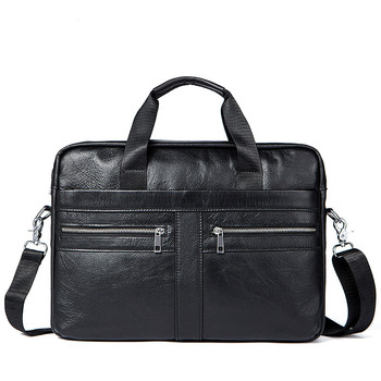 Men Leather Laptop Briefcase Bag 14.1 inch Genuine Leather Men Bags Briefcases Handbag Shoulder Bag Crossbody Messenger Bags New laptop bag 14 inch laptop shoulder bag fashion brand laptop messenger bag leather bag for laptop luxury men briefcase handbag