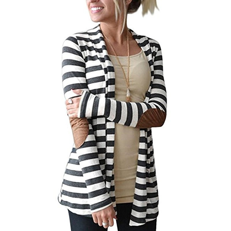 Dropshipping 2018 Spring Cardigan Women Long Sleeve Striped Printed Casual Elbow Patchwork Knitted Sweater Plus Size Outerwear Relieving Heat And Thirst. Women's Clothing