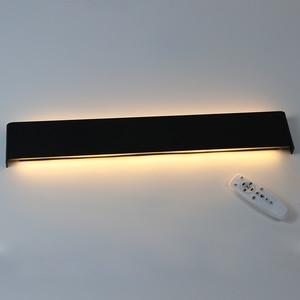 Image 1 - 61 cm/76 cm led 벽 램프 현대 침실 벽 빛 거실 계단 조명 장식 알루미늄 디 밍이 가능한 원격 제어