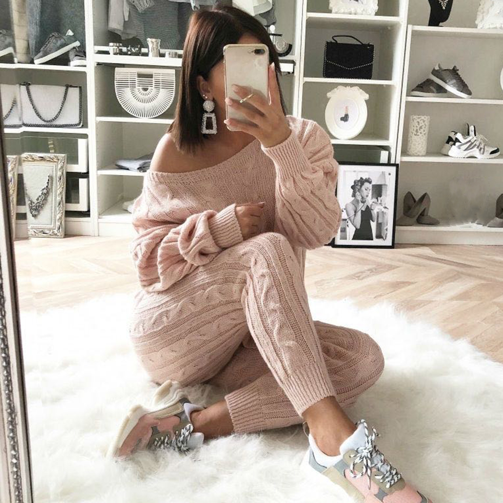 2019 Autumn Cotton Tracksuit Women 2 Two Piece Set Sweater Top+Pants Knitted Suit O Neck Knit Set Women Outwear Two Piece Set