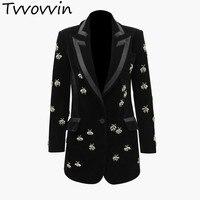 Women Blazer Diamond Drill Velvet Womens Blazers Long Sleeve Ladies Blazer Jacket Single Button Women Jacket Black Coat E287