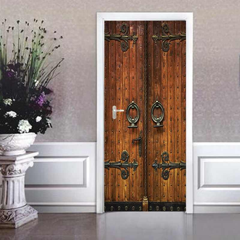Self Adhesive Simulation retro wooden door stickers Fashion creative porch study decorative stickers Home Decoration