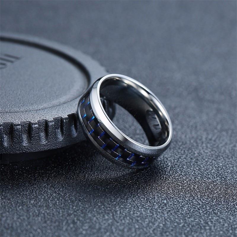 Vnox Twelve Constellations Rings for Men Women 8mm Stainless Steel Anel Male Classic Carbon Fiber 12 Horoscope Ring 3