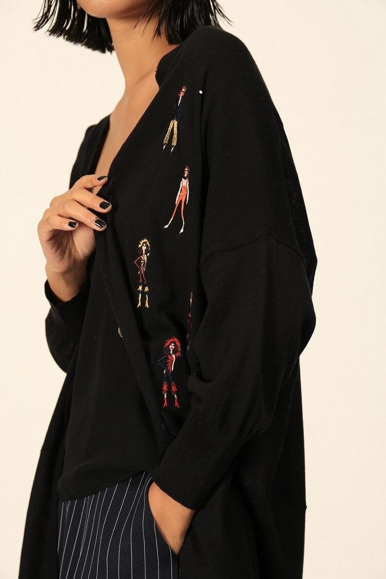 Couture Long Black De Nouveau Chandail 2019 souris Femmes Haute Tricoté Européenne Cardigans Manches Chauve Broderie Bouton Personnage Streetwear Deux 4U05Hxnq