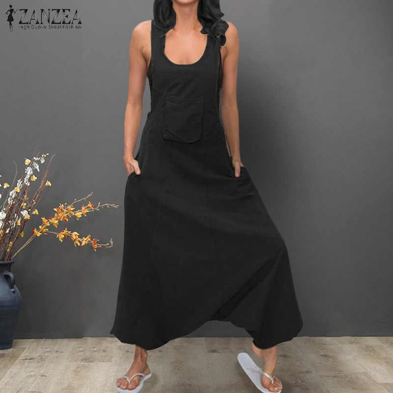 56463d03f3a 2019 Summer ZANZEA Women Jumpsuits Sleeveless Solid Harem Pants Ladies  Casual Cotton Linen Overalls Drop Crotch