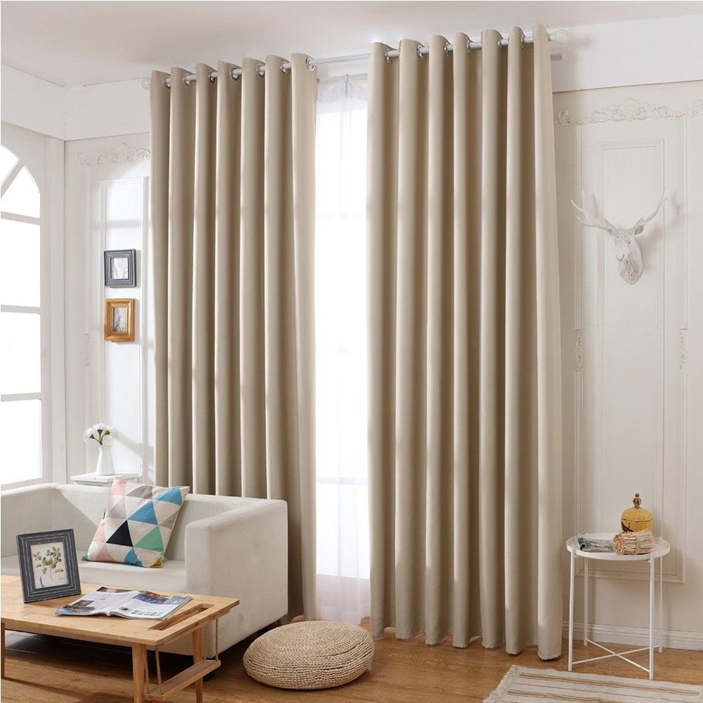 Blackout Curtain For Bedroom 2pcs/ Set Durable Thickened Mildew-proof Lightproof Curtain Living Room Household Beige