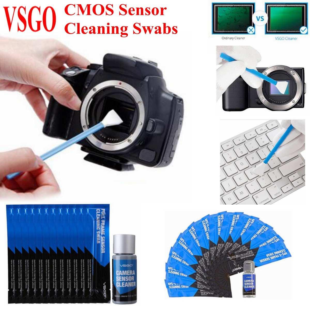 12Pcs VSGO Câmera Digital CMOS Sensor DSLR Full Frame Cotonetes de Limpeza Fluido Kit para Nikon/Canon/Sony APS-C Câmeras Digitais