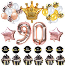 ZLJQ 90th Happy Birthday Decorations Party Supplies Rose Gold Number Confetti Balloon Banner For Ninety Years