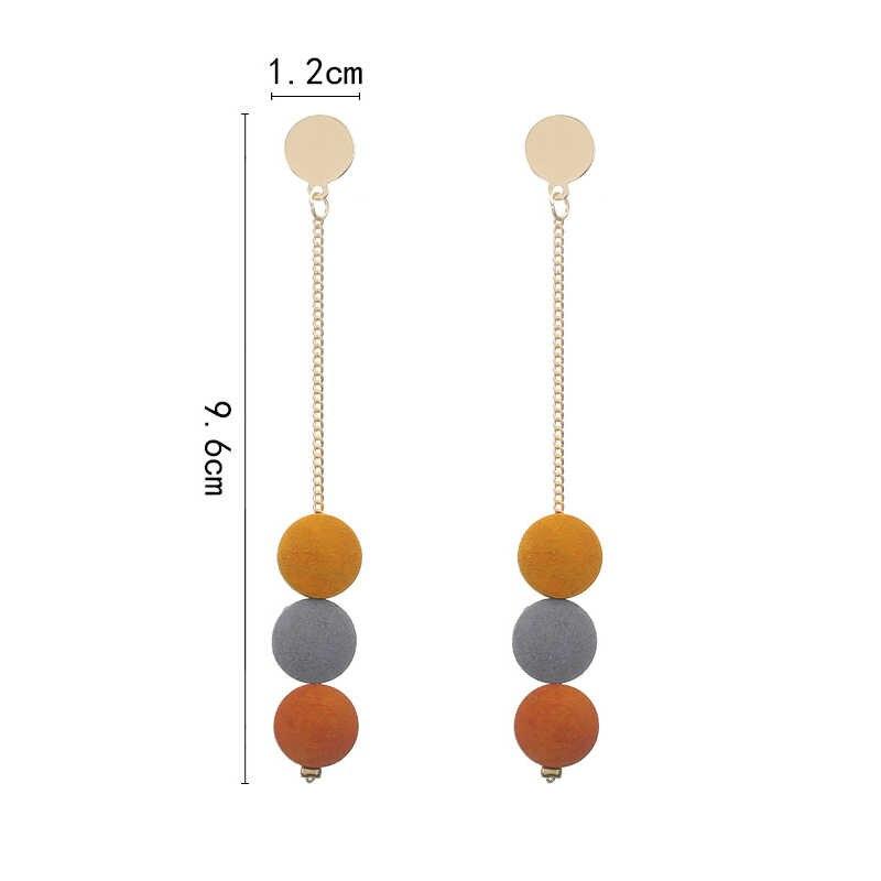 1 para moda kontrast kolor kolczyki dla kobiet kolorowe okrągłe proste drewniane długie kolczyki tassel 2019 koreański modne akcesoria