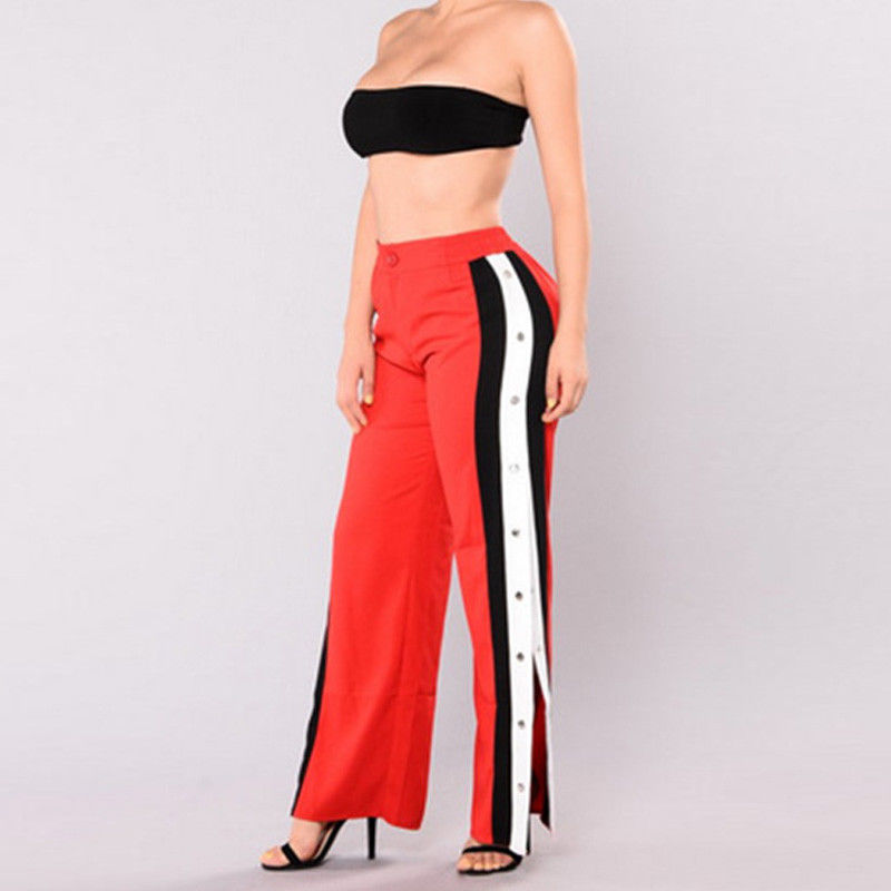 6 Styles New Arrival Women Cut Off Split Side Long Pants Fashion Buttons Wide Leg Jogger Pants Fashion Casual Trousers