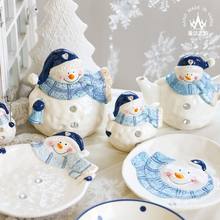 New Year! Cute Ceramic Bowl Crafts Snack Dish Teapot Storage Jar Seasoning Bottle Plate Snowman Tableware Bone China Set