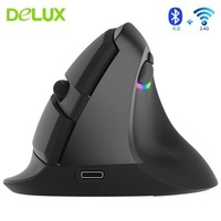 Delux M618 Mini Bluetooth 4.0 + 2.4G Wireless Mouse Rechargeable Ergonomic Vertical 2400DPI USB Optical Computer Silent Mice