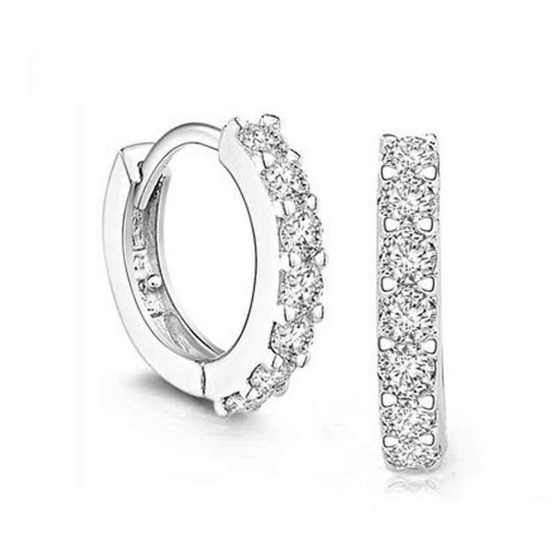 Dernière mode femmes 925 argent boucle d'oreille circulaire avec cristal de luxe tout Match parti affaires bureau dames cercle boucle d'oreille 16