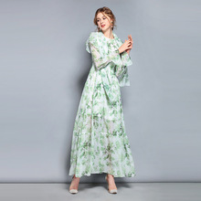 2019 New Style Long Sleeve Dress Womens Fresh Green Leaf Printing Pleated Sweet Silk Spring and Summer