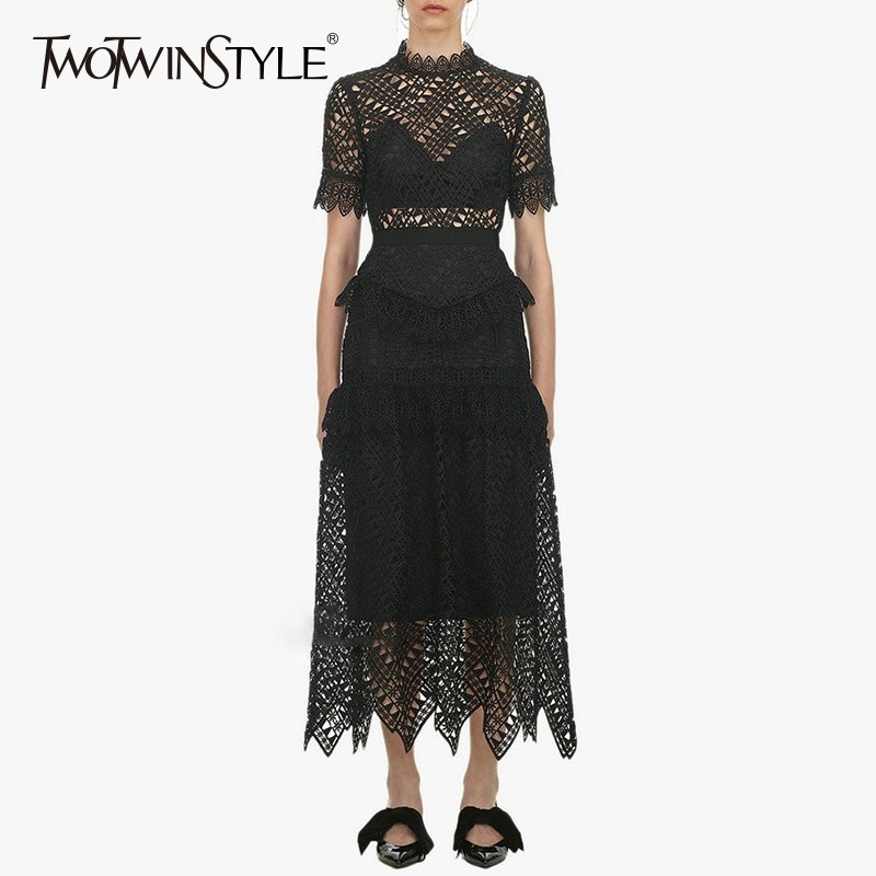 TWOTWINSTYLE Hollow Out Dresses Women Stand Collar Short Sleeve High Waist Perspective Dress Female 2019 Spring