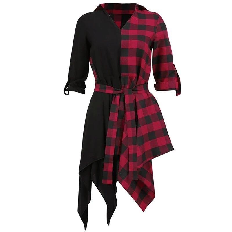 Gothique noir Streetwear grande taille rouge femmes chemise robes décontracté Sexy Club été Plaid asymétrique Goth femme mode robe