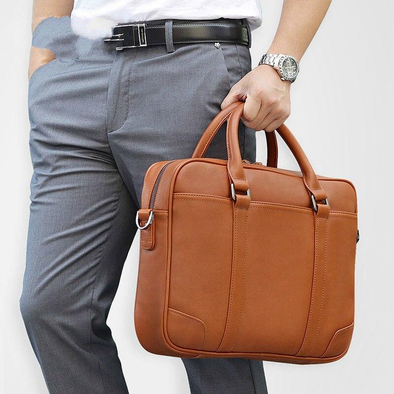 Homme 14 pouces sacoche pour ordinateur portable professionnel pour hommes porte-documents sacs en cuir 7349-768 hommes porte-documents sac hommes en cuir véritable sacs