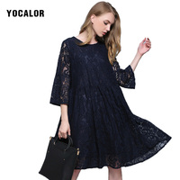 b0f051781c 2018 Lace Plus Size Midi Loose Long Sleeve Women Summer Sundress Dress  School Robe Ball Dresses